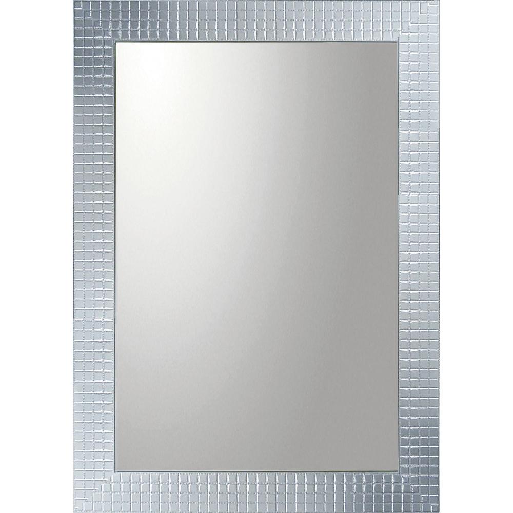 インテリア 鏡 壁掛け デコラティブ 大型ミラー タイル「長方形(シルバー)」 BM-20023 -新品