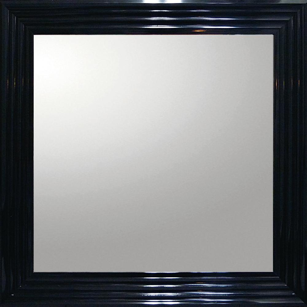 インテリア 鏡 壁掛け デコラティブ 大型ミラー シャープ「正方形(ブラック)」 BM-16021 -新品