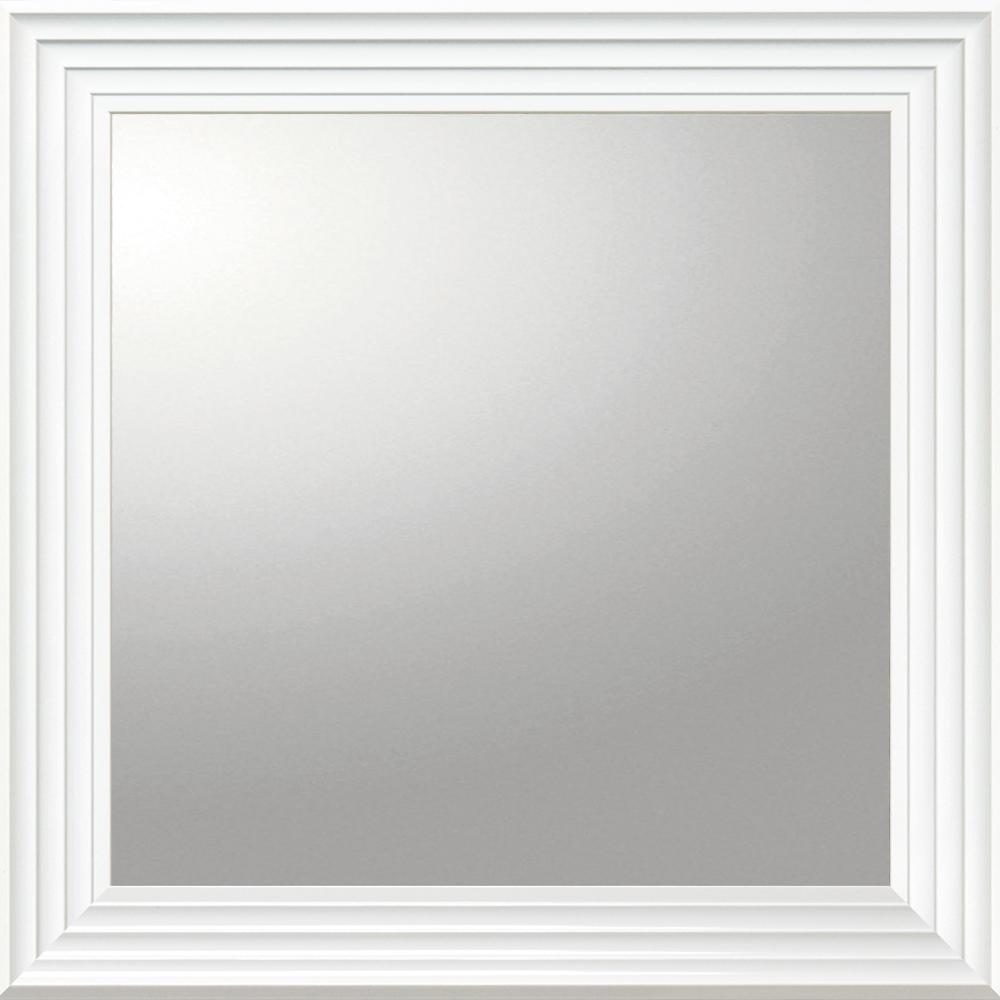 インテリア 鏡 壁掛け デコラティブ 大型ミラー シャープ「正方形(ホワイト)」 BM-16022 -新品