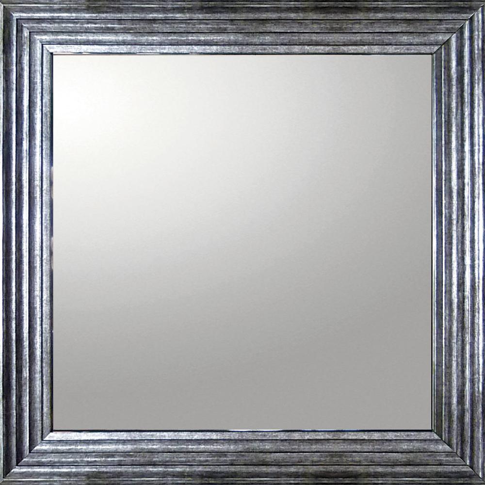 インテリア 鏡 壁掛け デコラティブ 大型ミラー シャープ「正方形(アンティーク シルバー)」 BM-16023 -新品