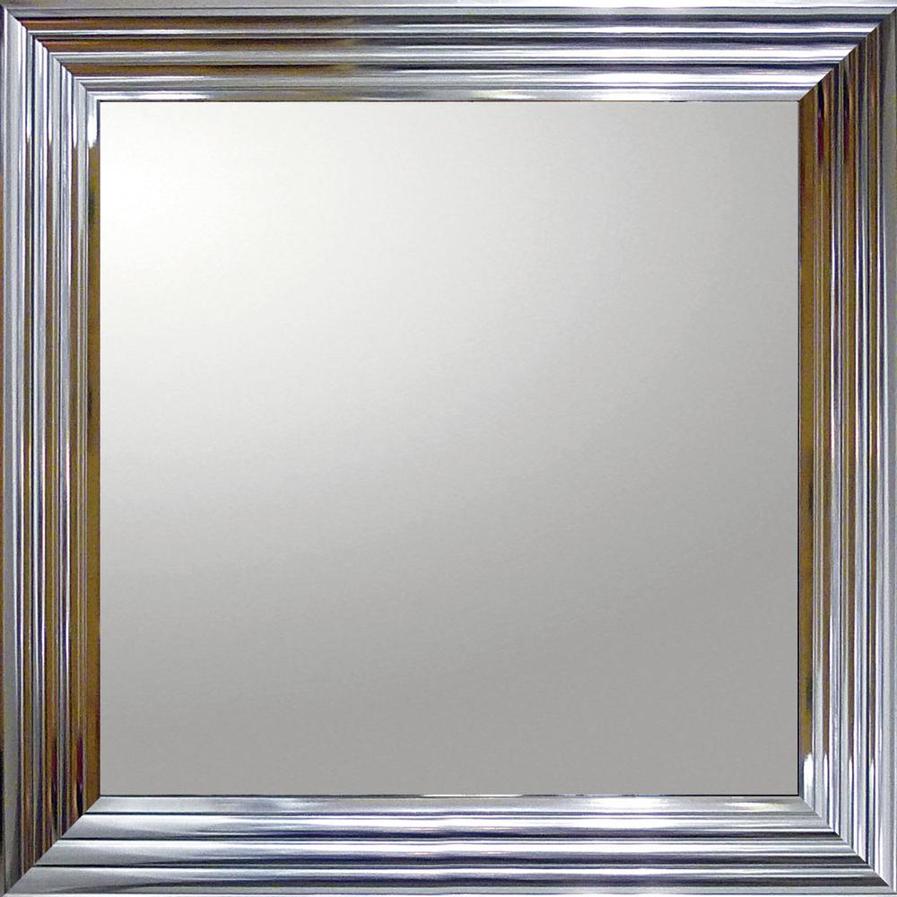 インテリア 鏡 壁掛け デコラティブ 大型ミラー シャープ「正方形(メタル シルバー)」 BM-16024 -新品