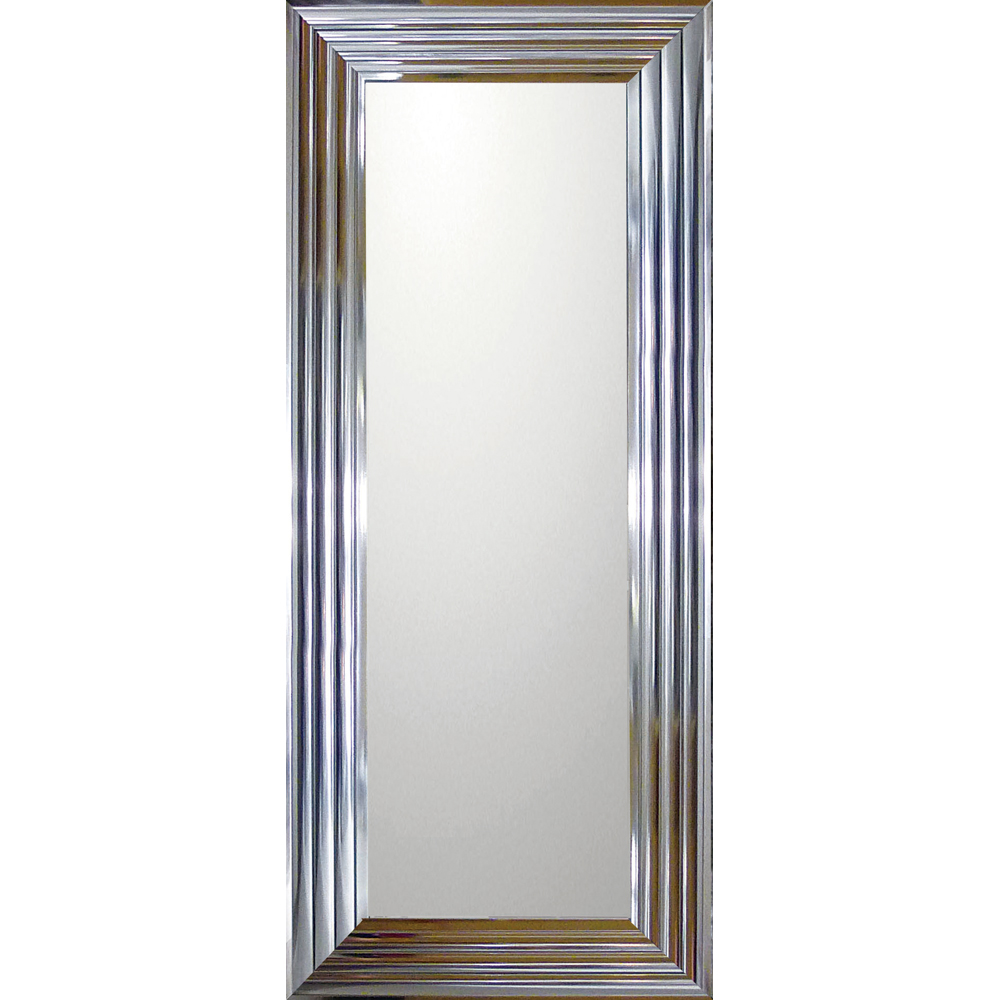 インテリア 鏡 壁掛け デコラティブ 大型ミラー シャープ「ロング(メタル シルバー)」 BM-16034 -新品