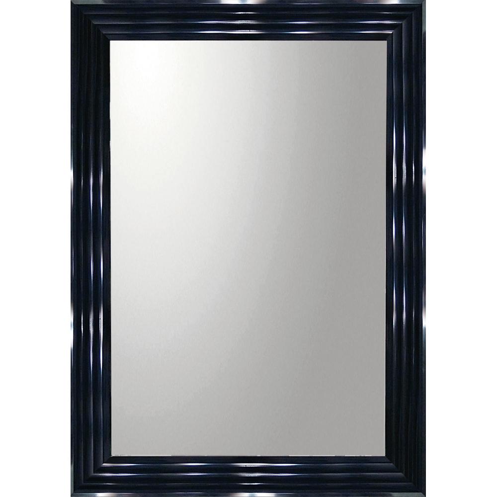 インテリア 鏡 壁掛け デコラティブ 大型ミラー シャープ「長方形(ブラック)」 BM-23021 -新品
