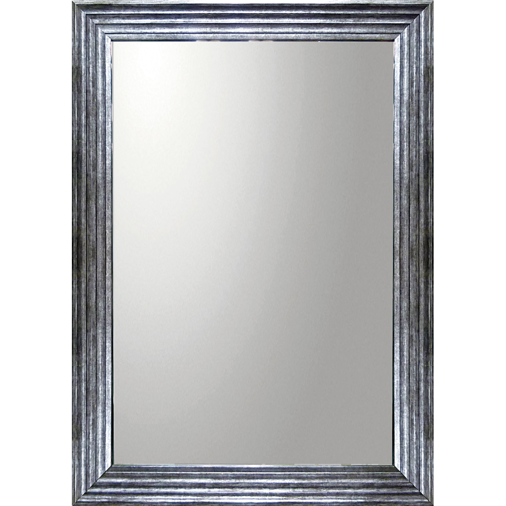 インテリア 鏡 壁掛け デコラティブ 大型ミラー シャープ「長方形(アンティーク シルバー)」 BM-23023 -新品