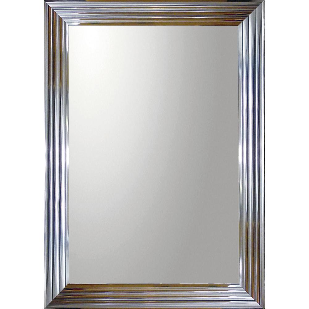 インテリア 鏡 壁掛け デコラティブ 大型ミラー シャープ「長方形(メタル シルバー)」 BM-23024 -新品