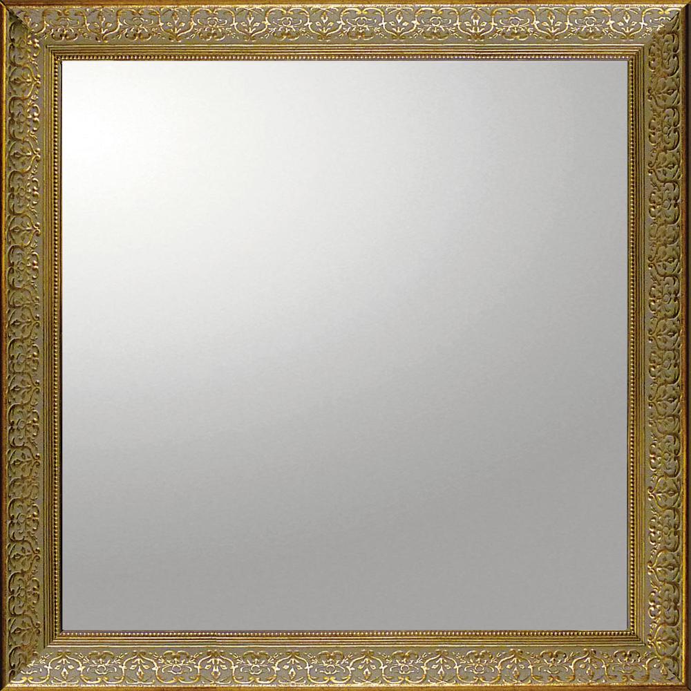 インテリア 鏡 壁掛け デコラティブ 大型ミラー デコラティブ「正方形(ゴールド)」 BM-14024 -新品