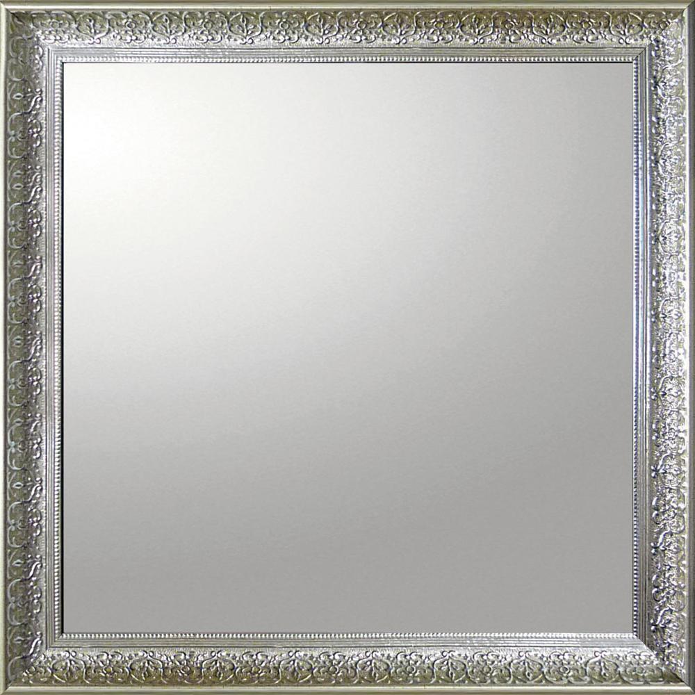 インテリア 鏡 壁掛け デコラティブ 大型ミラー デコラティブ「正方形(シルバー)」 BM-14025 -新品