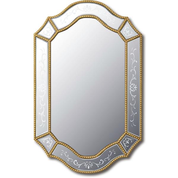 インテリア 鏡 壁掛け グレース エッチング ミラー「エグザ」 GM-25002 -新品