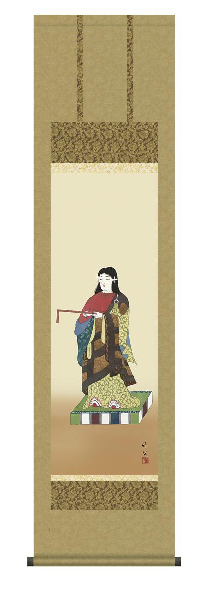 純国産掛け軸 佛画 「聖徳太子」 田村竹世 尺三 化粧箱付 SK -新品 送料無料