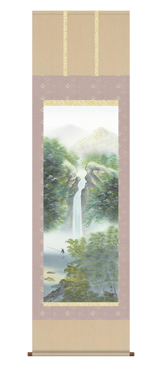 純国産掛け軸 山水風景 「秀麗名瀧」 佐伯峰水 尺五 桐箱付 SK -新品 送料無料