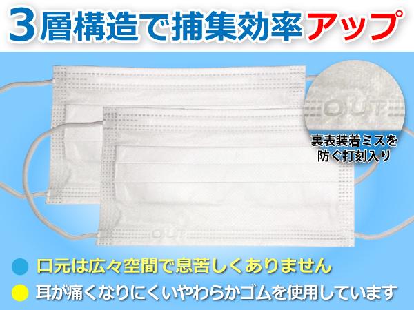 即納1日以内に仙台市から発送三層構造不織布マスク立体型ワイド構造50枚入りウイルス風邪花粉症PM2.5対策男女兼用プリーツマスクホワイト返品不可在庫有り