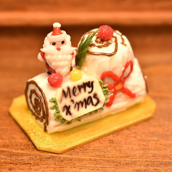 ミニチュア ドールハウス ミニチュアフード クリスマスケーキ ブッシュドノエル YLC08 m-s C imp 品番:27852 新色追加 ネコポス配送対応 舗