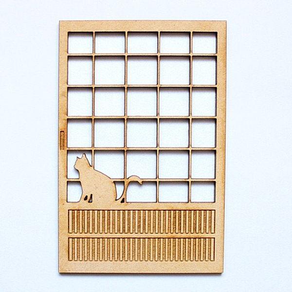 まめまめ工房 秘密基地 ミニチュア ドールハウス 猫のミニチュア 最安値挑戦 障子 1 完成品 ネコポス配送対応 期間限定お試し価格 C おすわり 12スケール m-s