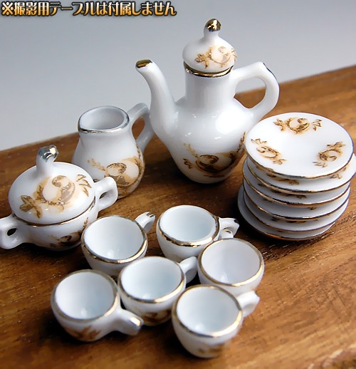 Waiting to restock ☆ ☆ miniature pottery celebrity name tiles series R & C style antique rose coffee set
