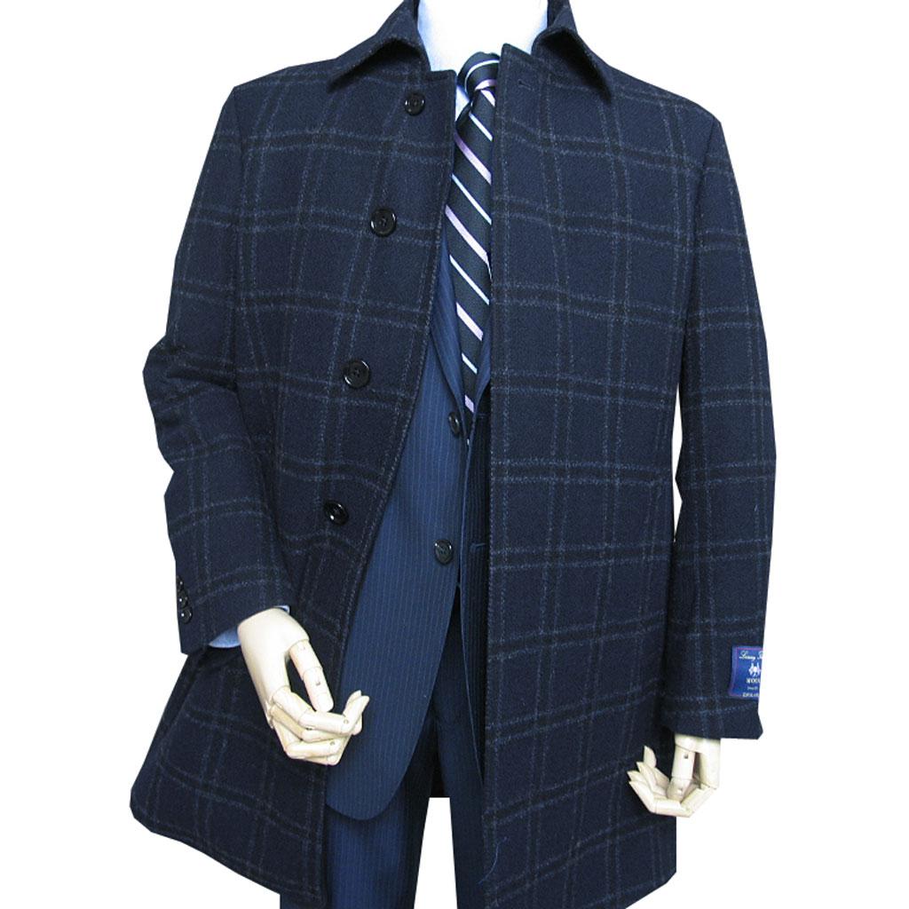 OXFORDCLASSIC 秋冬物 メンズ ツイード ステンカラー コート MOON社製生地使用 ネイビー ウインドペンチェック 0288 S M L