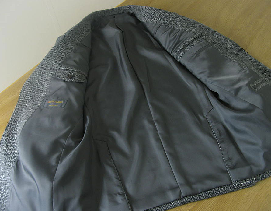 Tradhouse Fukiya Three Tweed Jacket Gray Elbow Patch U K Like