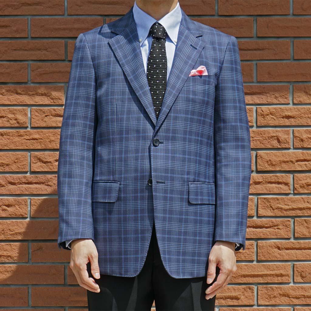 春夏 ジャケット ブルー系 ファンシーチェック 2つボタン 【ウール混】 メンズ ブレザー 青 アルヴァンテ・ウォモ(albante uomo) 0988 A6 A7 A8