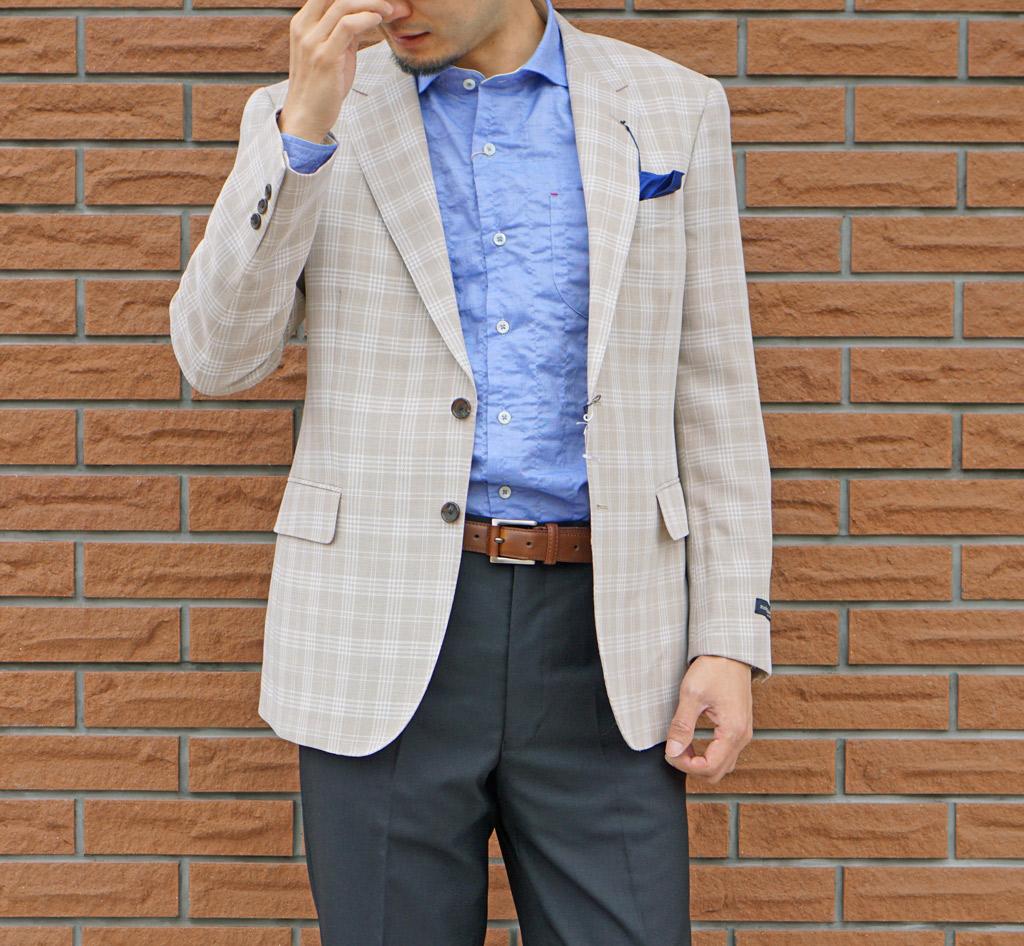 stanley blacker 春夏 ジャケット ベージュ系 チェック 2つボタン 【ウール混】【高機能繊維使用】 メンズ カジュアル ブレザー 1652 ALL