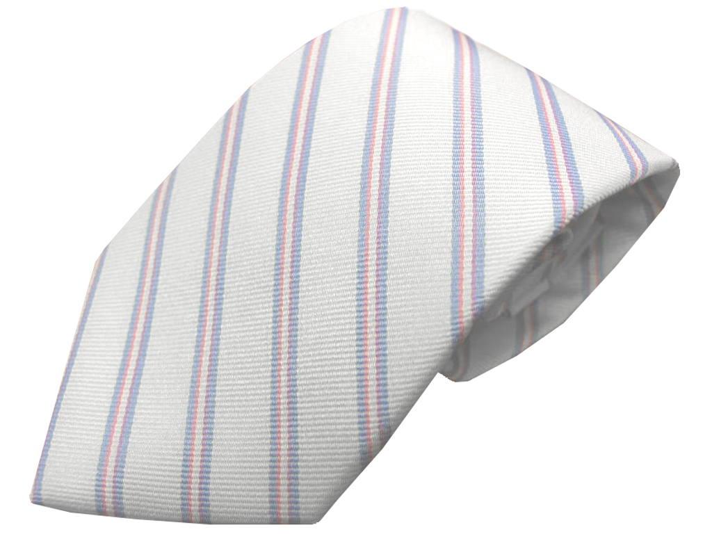 J.PRESS ネクタイ 白地にピンクのストライプ 絹100% J563