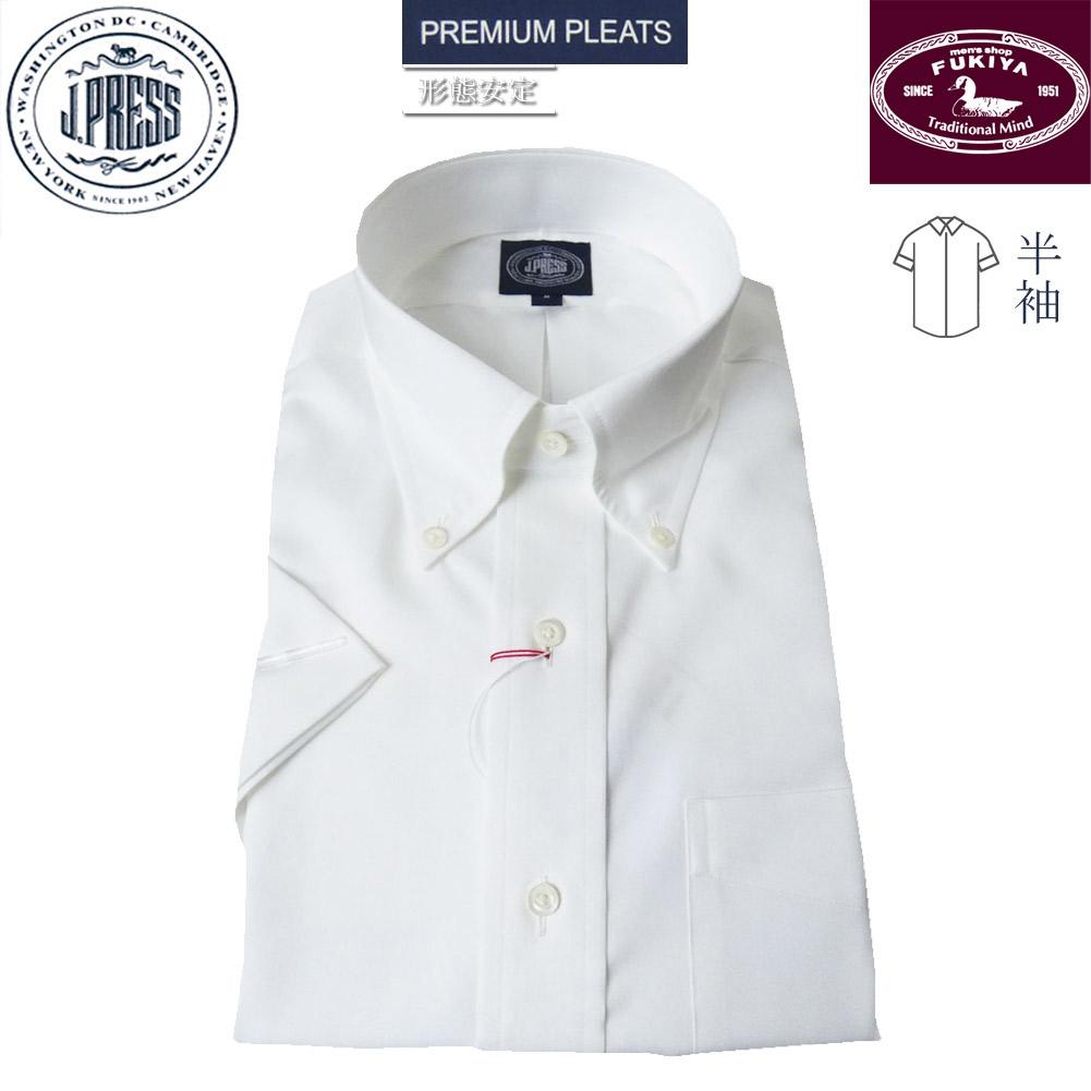 J.PRESS メンズ 半袖 ボタンダウン シャツ ホワイト ピンオックス  M L