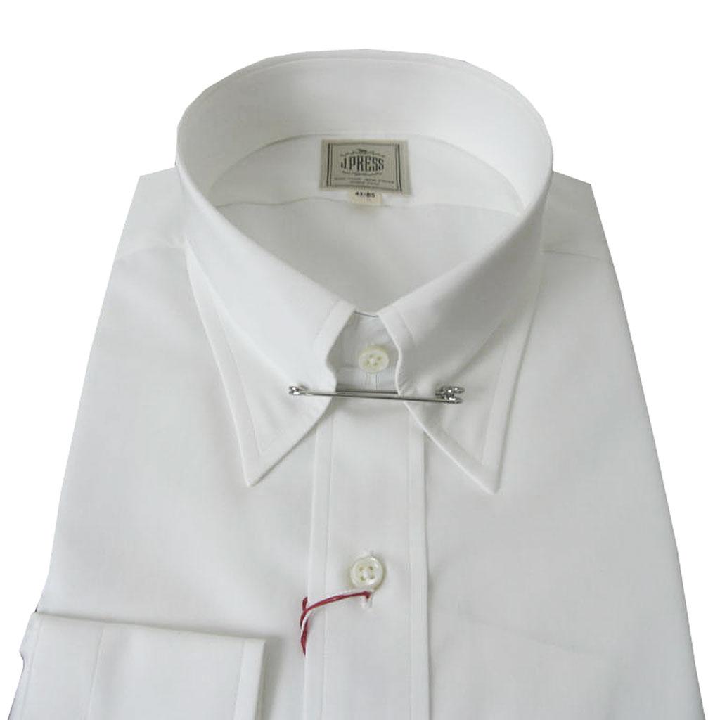 J.PRESSのピンホールカラーシャツ ホワイト ピンオックス  (衿39cm-裄丈84cm)(衿41cm-裄丈85cm)(衿43cm-裄丈86cm)