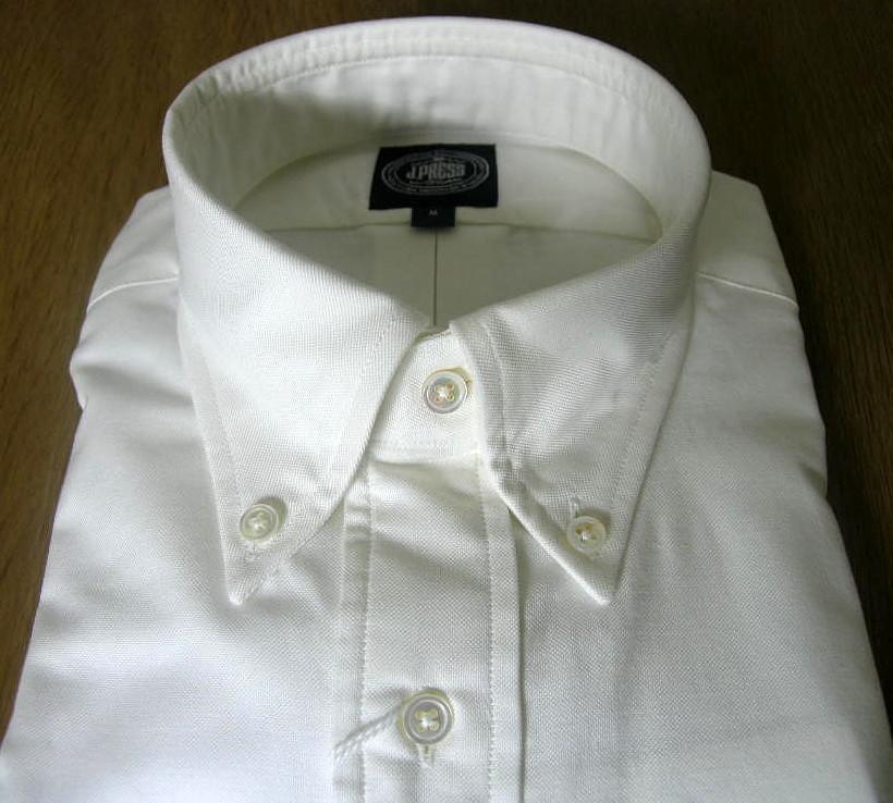 J.PRESSのボタンダウンシャツ ピンオックス ホワイト M(衿39-裄丈83cm)L(衿41-裄丈84)LL(衿43-裄丈85)