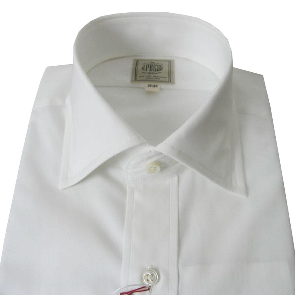 J.PRESSのワイドカラーシャツ ホワイト ピンオックス  (衿39cm-裄丈84cm)(衿41cm-裄丈85cm)(衿43cm-裄丈86cm)