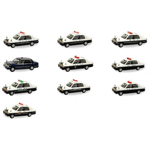 【10SET】 タルガ タッカー 1/64 クラウンパト 全10種セット 150系 クラウン パトカー パトロールカー 警察車両 覆面パトカー ミニカー ミニチュア 半完成品 単品
