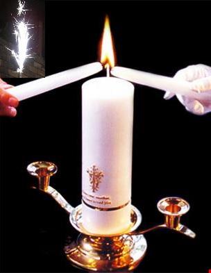 ユニティーキャンドルセット/二人の炎で一つのキャンドルを灯すセレモニーキャンドル!