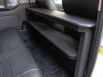 ハイエース200系 コンパクト折りたたみテーブル 2列目収納/ブラック