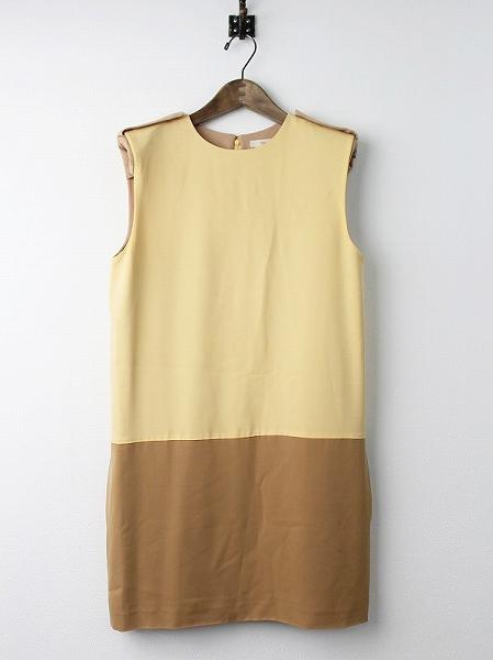 CELINE セリーヌ エポレット付き シルク バイカラー ワンピース 40*レディース ドレス【2400010542893】【中古】【古着】*高価買取中*【nsg】