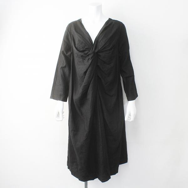 2016 nest Robe ネストローブ 01164-1112 リネン ツイスト ヘンプ フレア ワンピース/ブラック ドレス【2400011416063】【中古】*高価買取中*