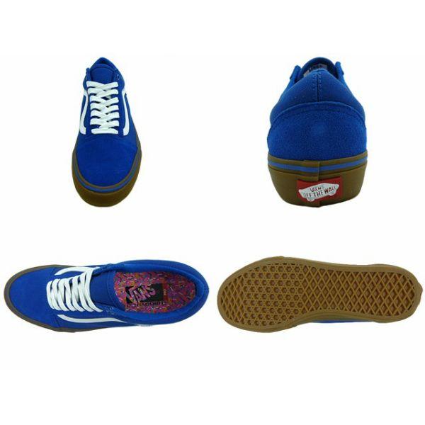Vans Old Skool Pro Bleu Classique / Gomme / Blanc p4nC11QGAz