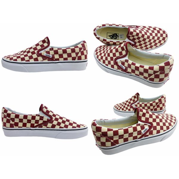 New overseas model VANS/SLIP-ON/ checkerboard / rhubarb / white / vans / slip-ons /