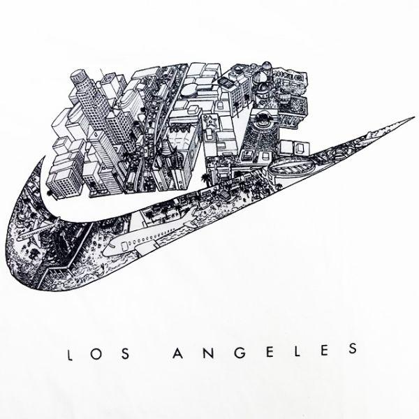 신품/NIKE/FUTURA CITY TEE/로스앤젤레스/흰색/나이키/