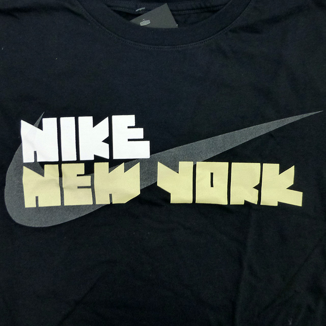 005d7c8d6e New  US-limited  NIKE Block Letter N.Y. City Tee  New York   ゴツ NIKE  black    white   gold   Nike