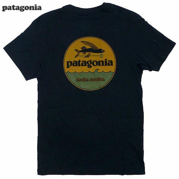 신품/산타 모니카 제한/Patagonia/HAT PATCH 프린트 T 셔츠/블랙/파/하트 패치