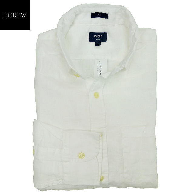 6eb01136 white / J. Crew where new /J.CREW/ slim fitting / linen shirt / is  button-downed