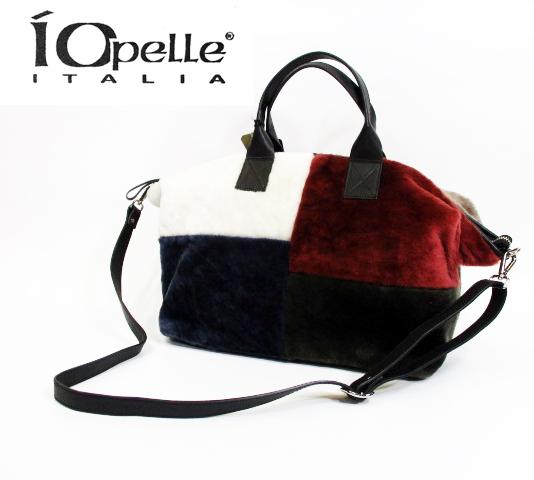 IO PELLE イオペレ インポート 輸入品バッグ 3840R パッチワークムートン 2WAYトートバッグ(マルチカラ―)