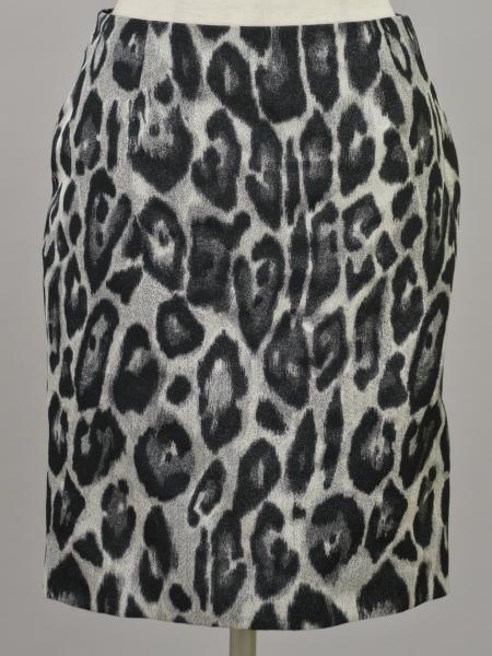 ランバン LANVIN ポリエステル レオパード スカート 34サイズ ブラック×グレー レディース F-M9000【中古:美品】【ブランド買取販売トリヴァンドラム】180906