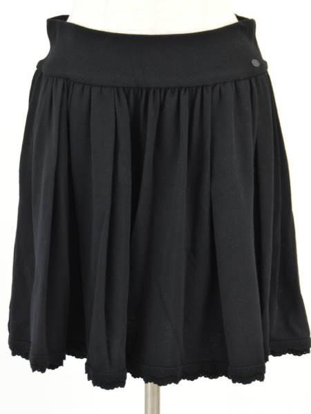 フォクシー FOXEY BOUTIQUE スカラップ スカート 40サイズ ブラック レディース F-L3973【中古:美品】【ブランド買取販売トリヴァンドラム】180910