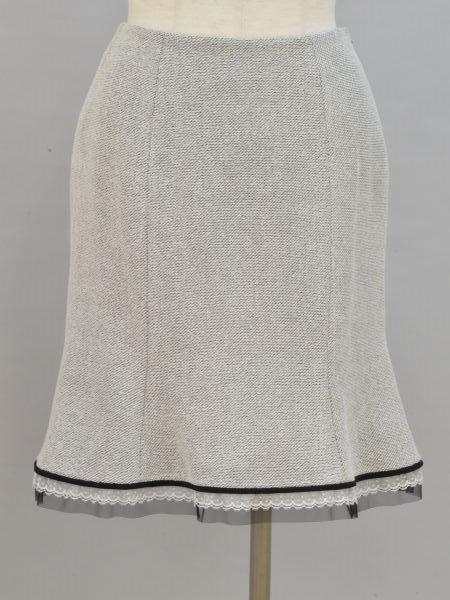 エムズグレイシー M'S GRACY 驚きの価格が実現 裾レースチュール スカート 送料無料限定セール中 36サイズ F-M10667 レディース ブラック×ホワイト ブランド買取販売トリヴァンドラム 中古:美品 180910