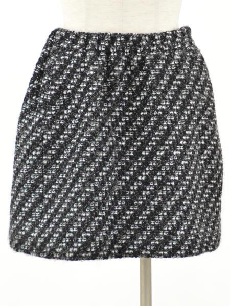 ドゥロワー Drawer ユナイテッドアローズ ツイード 台形 ミニ スカート 36サイズ ブラック×ホワイト レディース F-L2777【中古:美品】【ブランド買取販売トリヴァンドラム】180912