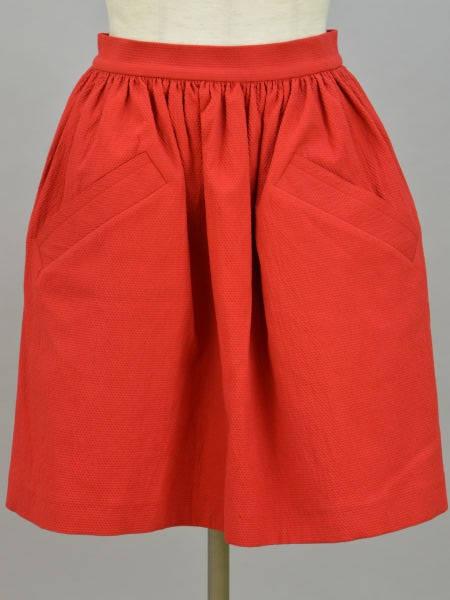 カルヴェン CARVEN コットン ギャザー スカート 34サイズ レッド レディース F-M9423【中古:美品】【ブランド買取販売トリヴァンドラム】180912