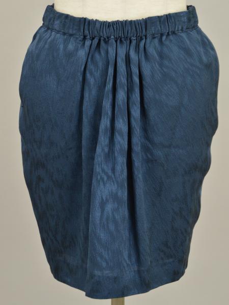 ドゥロワー Drawer ユナイテッドアローズ UNITED ARROWS シルク100% ギャザー ミニスカート 36サイズ ネイビー レディース F-M8516【中古:美品】【ブランド買取販売トリヴァンドラム】180913
