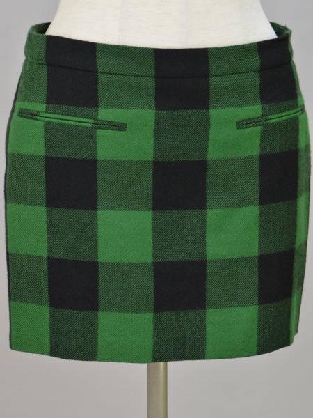 ステラマッカートニー Stella McCartney ウール チェック ミニスカート 36サイズ ブラック×グリーン レディース F-M10097【中古:美品】【ブランド買取販売トリヴァンドラム】181000