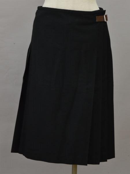 マーガレットハウエル MARGARET HOWELL ベルト プリーツ ラップ/巻き スカート 2サイズ ブラック レディース F-L6331【中古】【ブランド買取販売トリヴァンドラム】181009