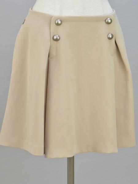 フォクシーニューヨーク FOXEY NEW YORK BUTTON B Pleat プリーツスカート 40サイズ ベージュ レディース F-L4707【中古:美品】【ブランド買取販売トリヴァンドラム】181208