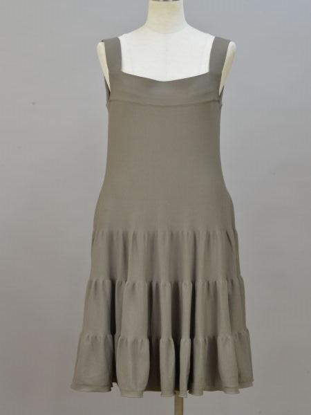 フォクシー FOXEY Dress Tiered ニットキャミソールワンピース/ドレス 40サイズ カーキブラウン レディース F-L5904【中古:美品】【ブランド買取販売トリヴァンドラム】190207