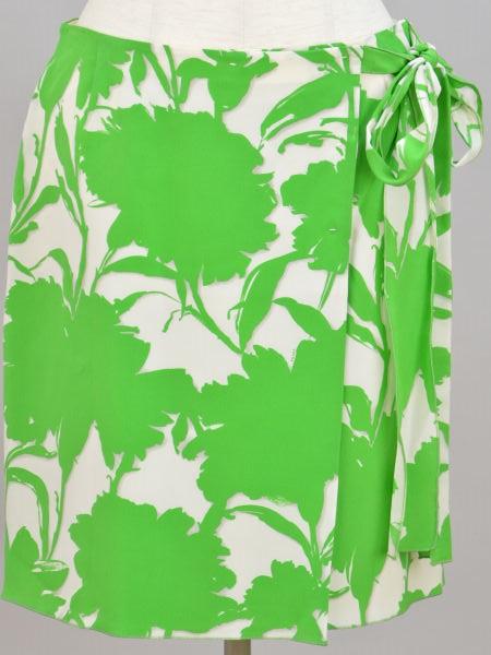 プラダ PRADA シルク100% 花柄 リボン スカート 42サイズ アイボリー×グリーン レディース F-M9759【中古:美品】【ブランド買取販売トリヴァンドラム】190207